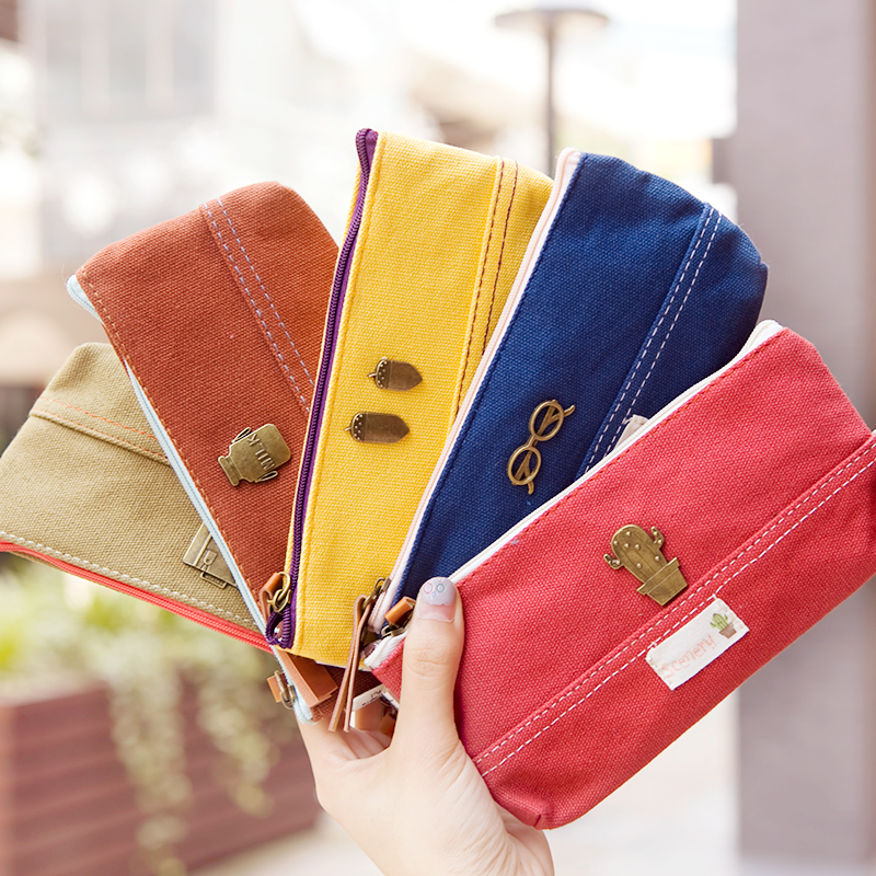 Hearts . brief vintage canvas multifunctional pencil case large capacity stationery bags cell phone pocket(China (Mainland))