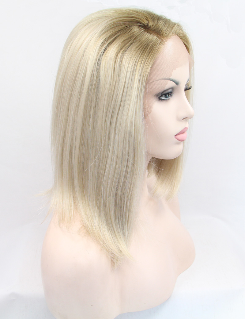 Chic Ombre Bob Wigs Blonde Short Straight Synthetic Lace Front Wig with Dark Root for White Women Heat Resistant 100% Fiber Hair(China (Mainland))