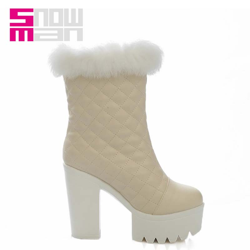 Rabbit Fur Upper Snow Boots for Lady's Thick High Heels Winter Boots Elegant Women Boots 2015 High Quality Embossed Grid Shoes