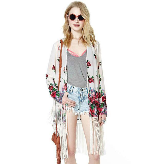 Женщины цветочные принты кимоно рубашки свободно бахрома кимоно кардиган куртки с ...
