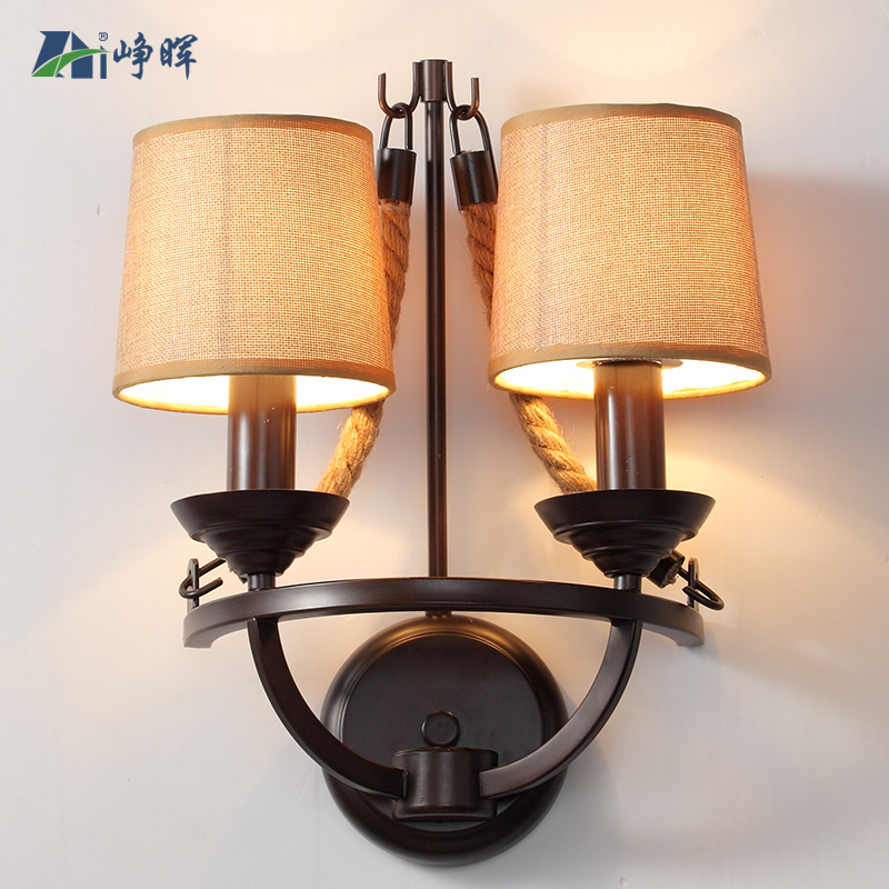 Wall Lamps For Restaurants : WBANG American retro pastoral village wall industrial steel rope French restaurant aisle bedside ...