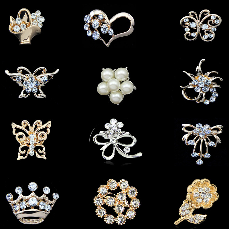 Cheapest High quality Platinum Silver Flower Five Cream White Pearl Brooch Bouquet for wedding sapphire jewelry hijab pins B7(China (Mainland))