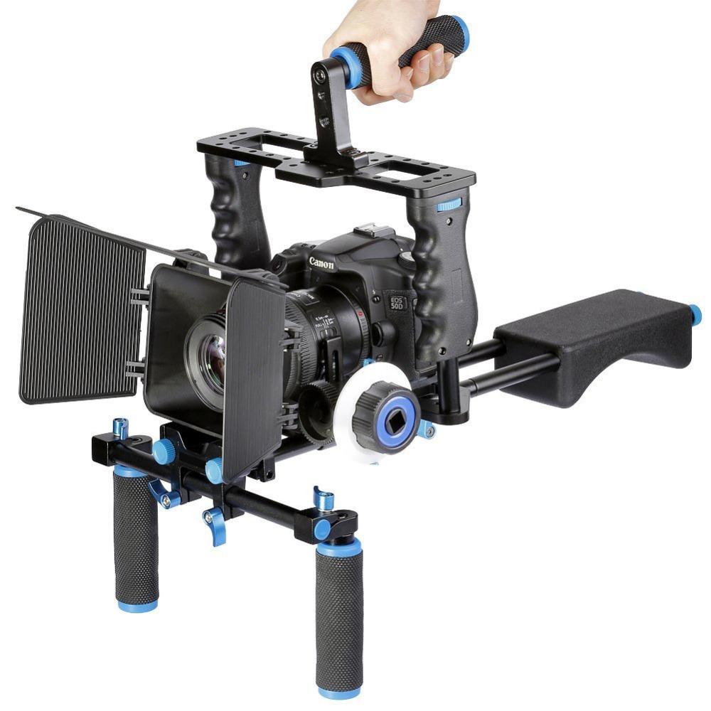 DSLR Rig Video Stabilizer Shoulder Mount Rig+Matte Box+Follow Focus+Dslr Cage for Canon Nikon Sony DSLR Camera Video Camcorder(China (Mainland))