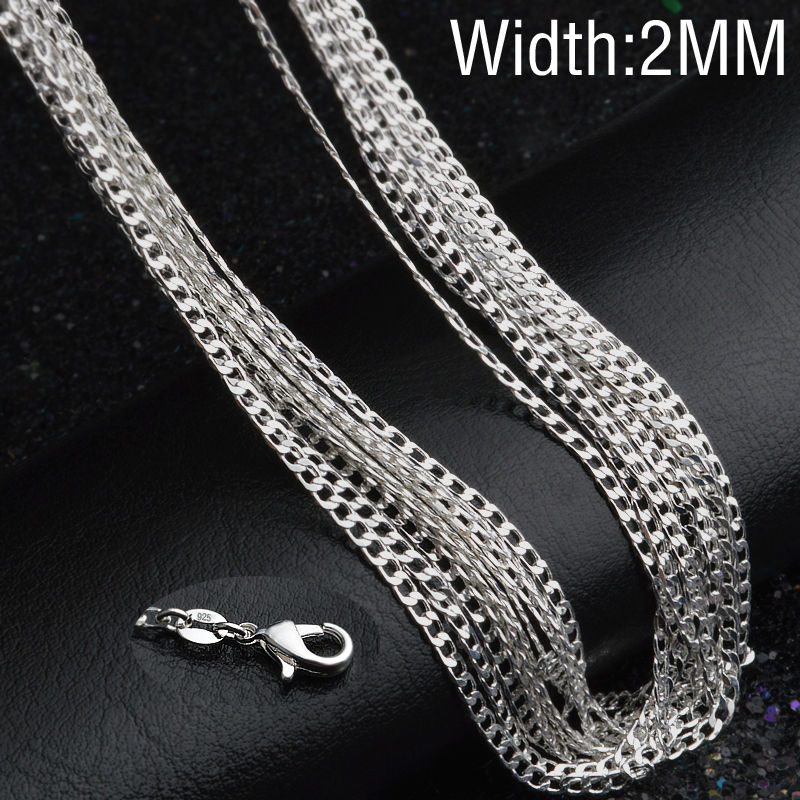 "2016 wholesale Cheap C013 16""18""20""22""24"" 2mm silver Figaro Chain Necklace Man and women Jewellery finding Factory price CYPRIS(China (Mainland))"