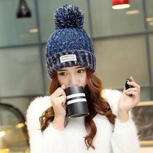 2016 New High Quality Skullies Beanies Classic Plus Velvet Knit Hat Female Cap Winter Hat Women Beanie Headgear Warm 6 Color(China (Mainland))