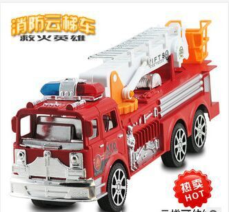 Big promotion newest Plastic fire truck children's brinquedos large inertia car styling fire ladder Toy cars without retail box(China (Mainland))