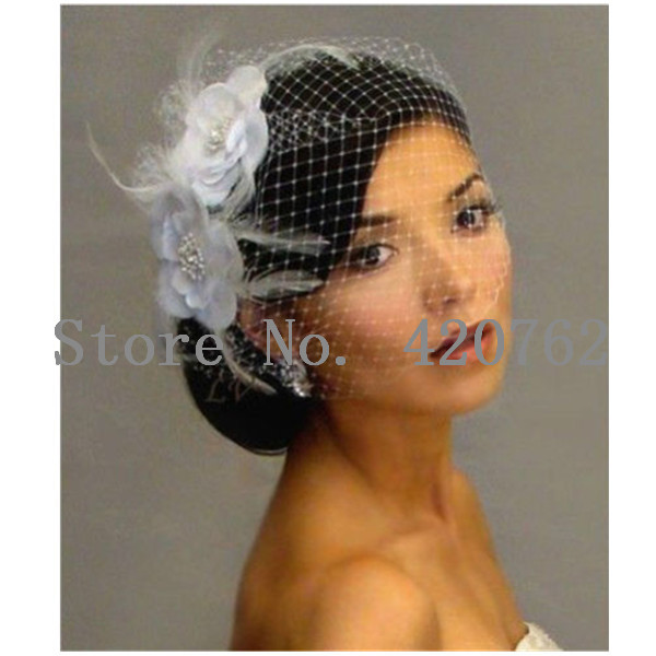 2014 New Bird cage Face Veil Wedding Bridal Fascinator Feather white Flower with comb for Dress(China (Mainland))