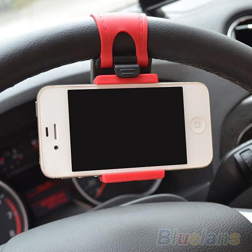 Car Steering Wheel Mount Holder Rubber Band For iPhone iPod MP4 GPS Mobile Phone Holders 04QV(China (Mainland))