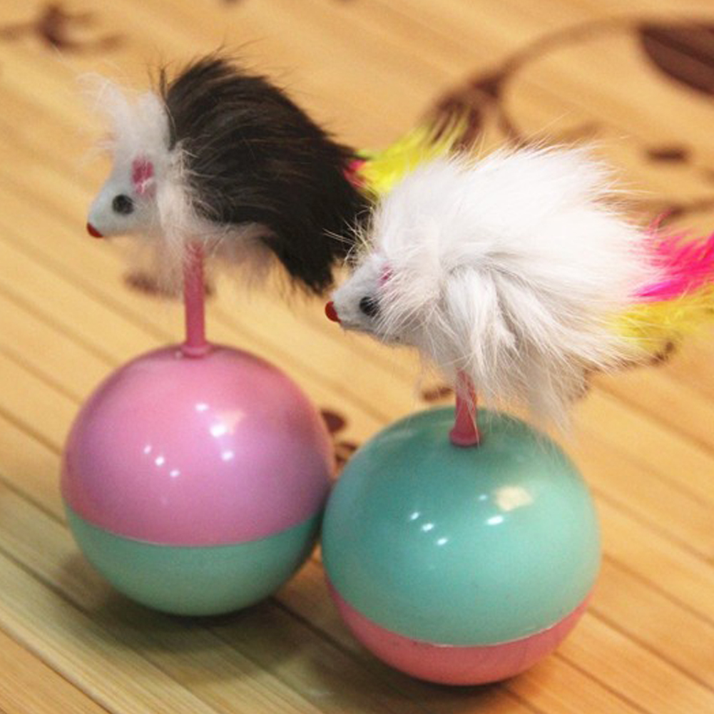 Durable Pet Cat Toys Mimi Favorite fur Mouse Tumbler Plastic Toys Balls for Cats dogs play 5.5cm(China (Mainland))