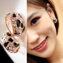 Exquisite Beautiful Shiny Rhinestone Crystal Leopard Stud Earrings for Women Jewelry Free Shipping E148(China (Mainland))