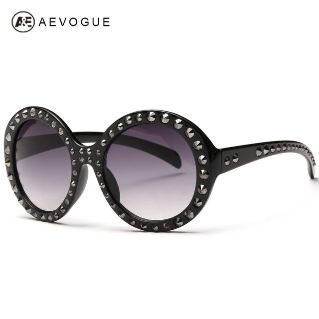 Aevogue новые марка дизайн круглая рамка солнцезащитные очки женщины высокое качество металлические заклепки декоративные солнцезащитные очки óculos UV400 AE0251