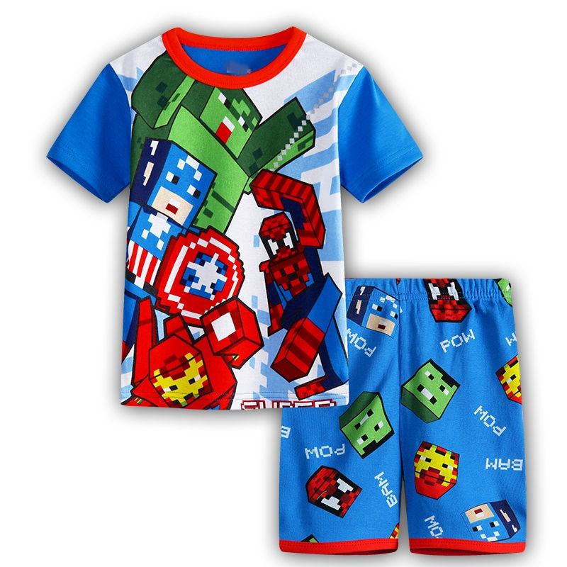 Europe and the United States 2016 heroes union to take the new summer style air conditioning suit cartoon pattern pajamas cotton(China (Mainland))