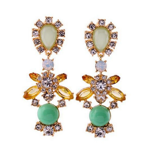 Shinig acrylic stone fashion luxurious delicate flower long stud earrings