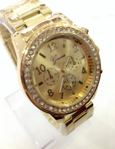 2014 Women Dress Watches Geneva Stainless Steel wristwatch women Watch Luxury Casual Relogio Quartz watch fashion brand watch