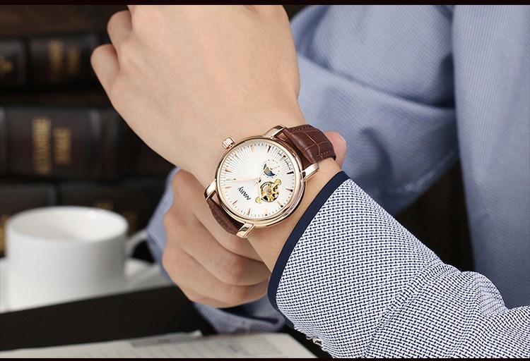Nary Часы Моды для Мужчин Бизнес Кожа Наручные Часы Водонепроницаемые Автоматические Self-Wind Часы Личность Повседневная Relógio W0805