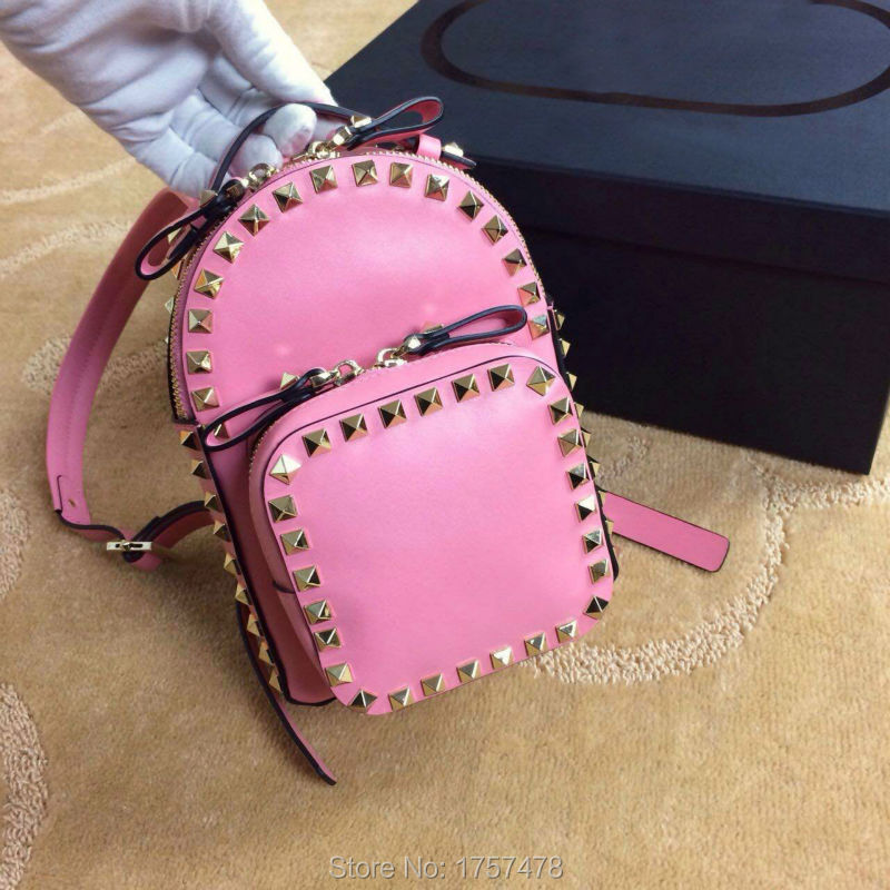 Free shipping Top Quality Genuine Leather fashion ladies backpack womens rivet bags<br><br>Aliexpress