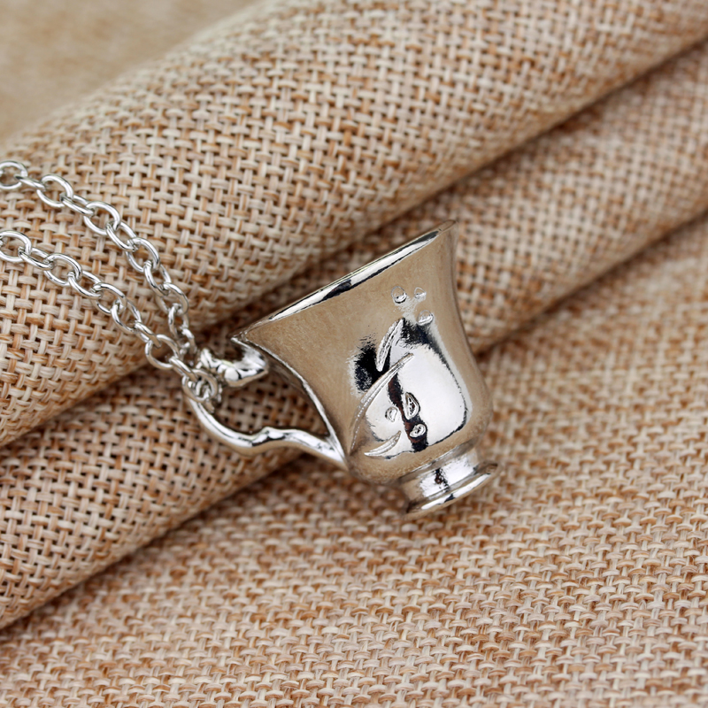 Free Shipping Once Upon A Time Rumbelle Bella Clip Tea Cup Pendant Charm Necklace(China (Mainland))