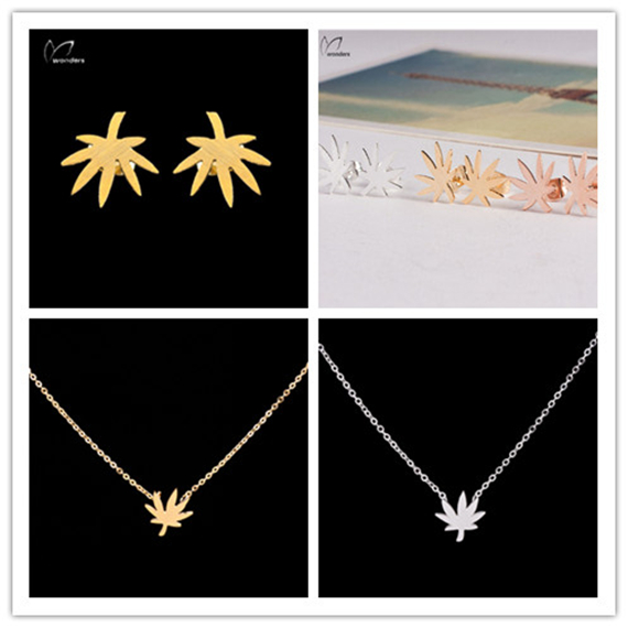10 Sets Gold Silver Plated Jewelry 2015 Metal Stainless Steel Charms Maple Leaf Necklace Earring For Women Men Girl Wedding Gift