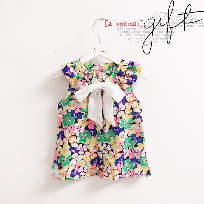 Retail-girl t shirt new chiffon top tee colorful flower chiffon with bow kid tees, girls clothe, free shipping(China (Mainland))