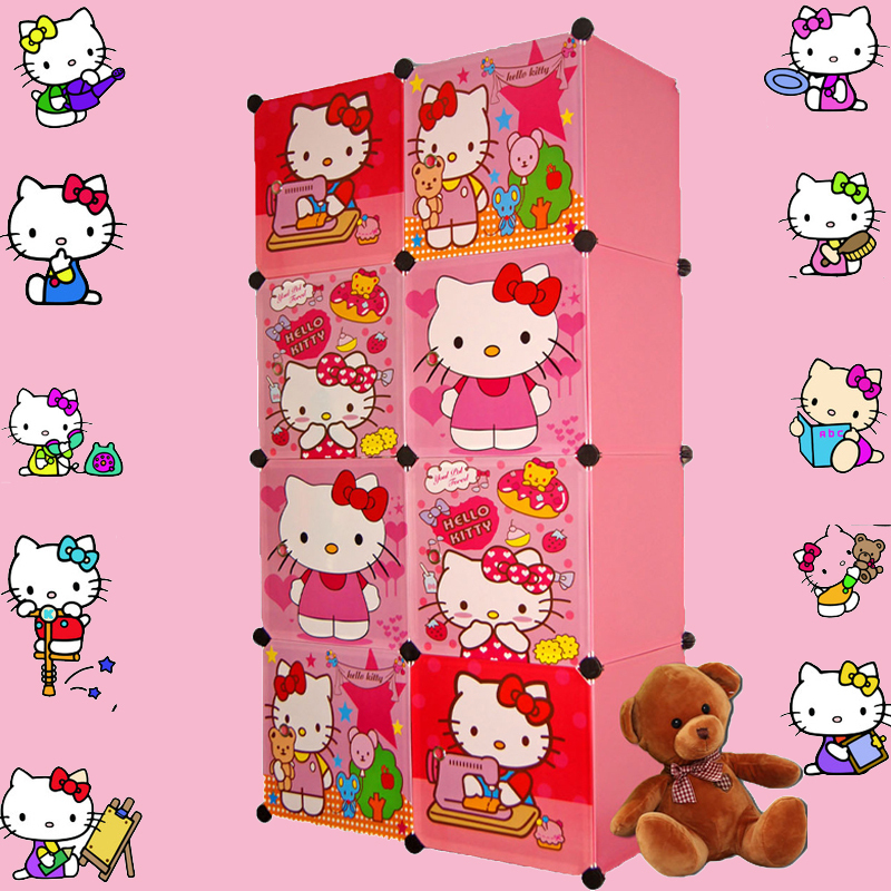 2016 Wall Shelf Storage 8 Cubes Children's Cartoon Wardrobe Closet Storage Cabinet Clothing Armoire Kids Organizer Organizers(China (Mainland))