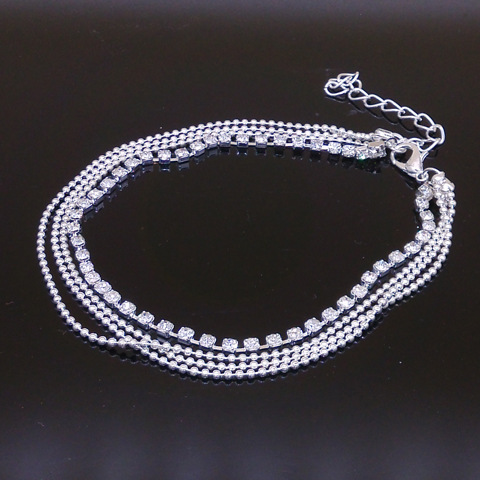 Free Shipping New Charm Silver Plated Bead Anklets for Women High Quality Ankle Bracelet Chain Crystal Anklet Foot Jewelry(China (Mainland))