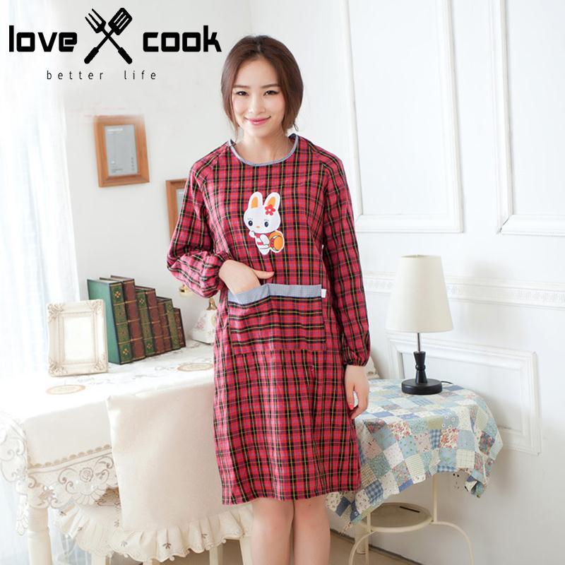 Korean Style Long Sleeve Apron Dress Women Back Strip Bib Apron Adult Household Cleaning Clothing Plaid Kitchen Apron(China (Mainland))