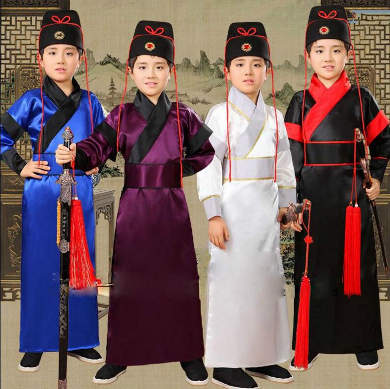 Nouveaux Enfants de Costume Danse Folklorique Chinoise 4 couleur tang costume Antique Chinois Hanfu de Vêtements