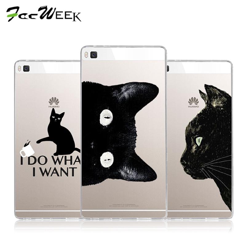 For Huawei Ascend P8 P9 G7 Case Cartoon Pet Black Cats Silicone TPU Soft Shell For Huawei P8 Lite P9 Lite Phone Cases Cover(China (Mainland))