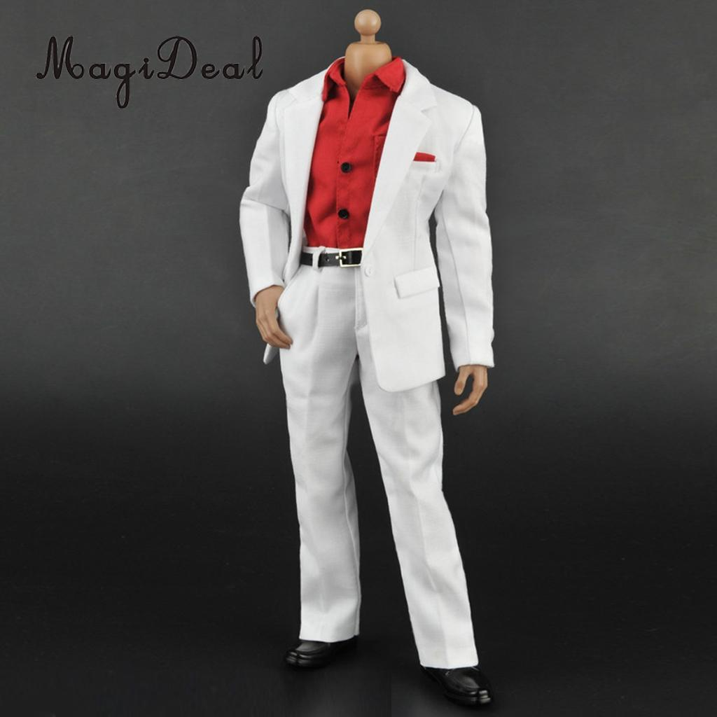 1:6 Scale Red Long Sleeve Shirt White Suit Jacket Pants Clothing Accs for 12 Inch Hot Toys Action Figure Body Dolls