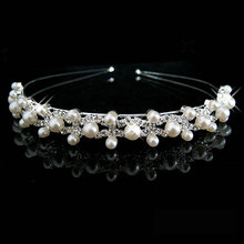 Hot Selling Fashion pearl crystal wedding princess headband Women Girls rhinestone pageant tiaras and crowns for bride hair(China (Mainland))