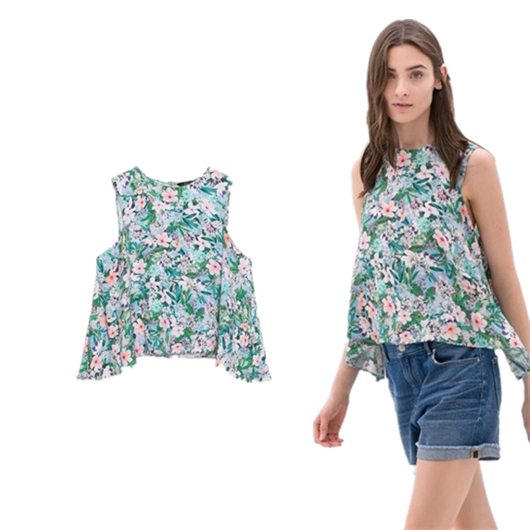 Europe 2015 Summer za Brand Sleeveless Floral Slim Vest Femininas Cheap Green Sexy Tanks Womens Tops Gifts Free Shipping(China (Mainland))
