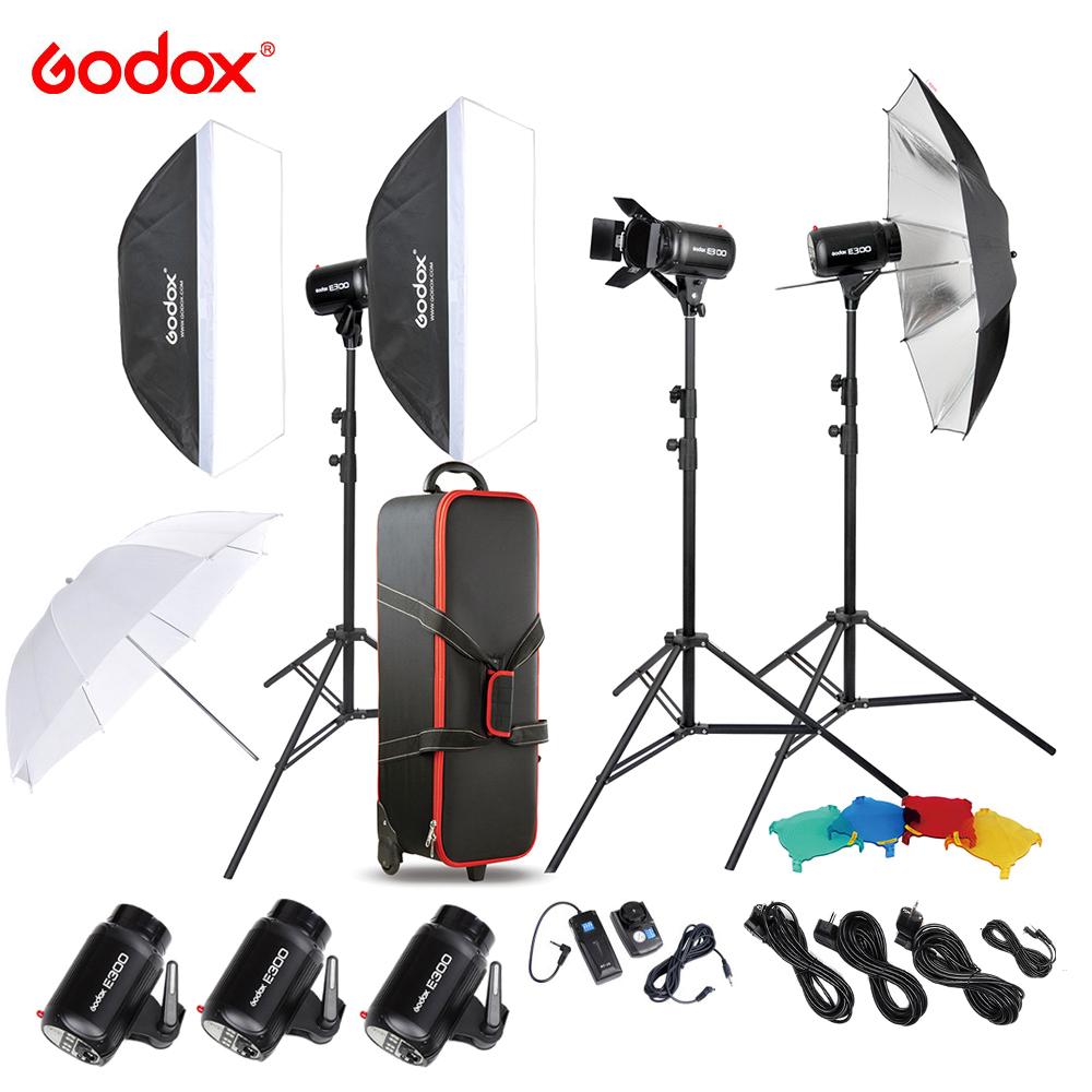 DE STOCK Godox E300-D Photo Studio Speedlite Lighting Kit with 300W Studio Flash Strobe Light Stand Softbox Barn Door Trigger(China (Mainland))