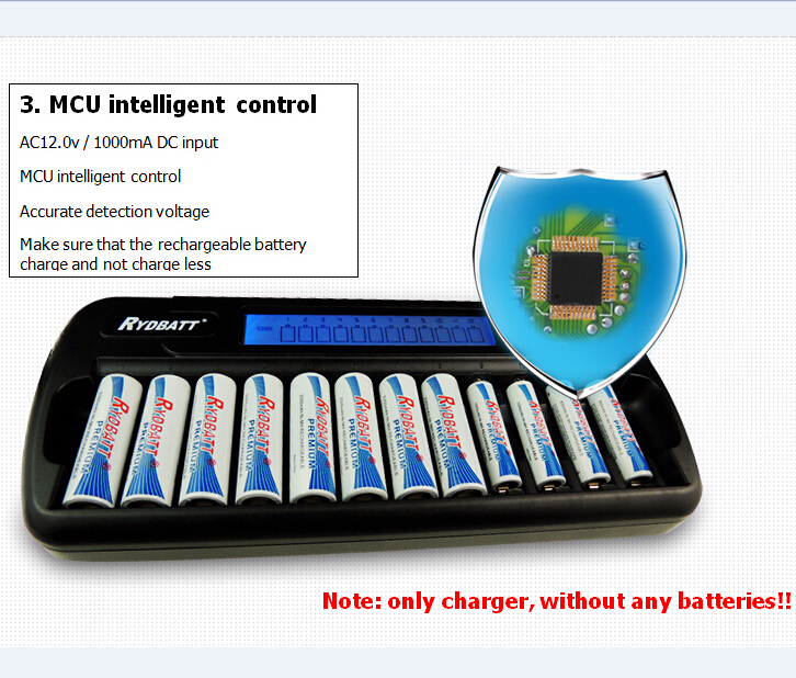 Wholesale/Quality Warranty Excellent Quality Super Quick 12 Slot NIMH NICD AA / AAA Smart LCD Power Supply Smart Battery Charger(China (Mainland))