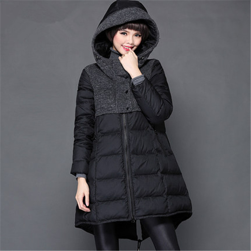 Winter Long Hooded Jacket Women Plus Size M~5XL Overcoat Winter Duck Downs Parkas abrigos y chaquetas mujer invierno 2015 LJ3499