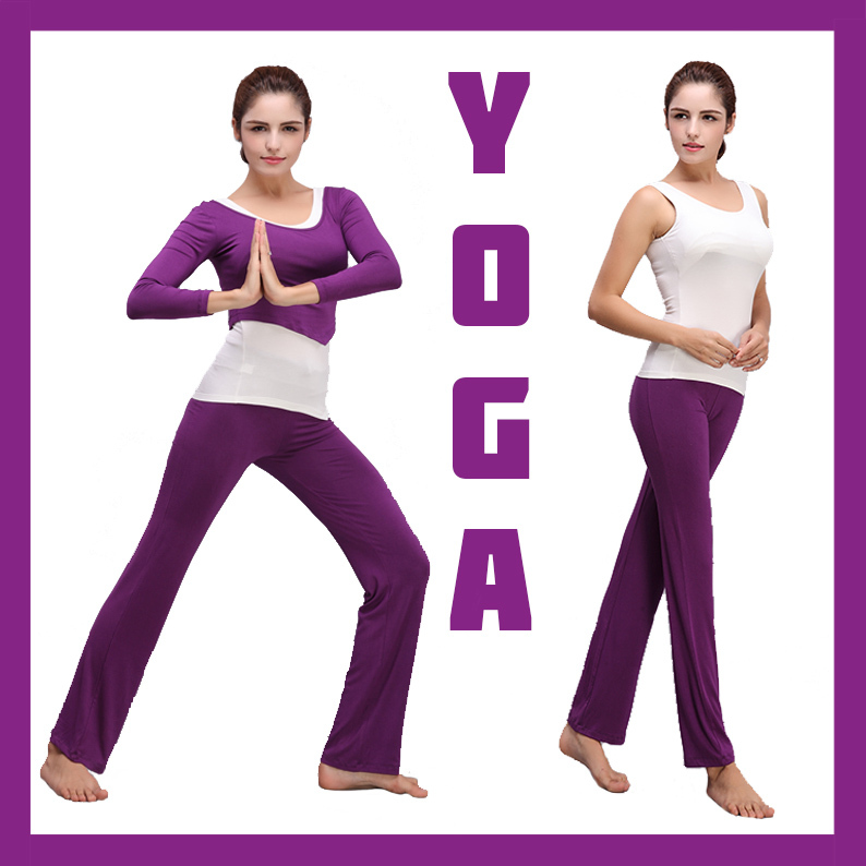High Quality seamless Purple&amp;White Modal Fitness Yoga Exercise Vest/Shirts/Pants/Trousers/Top/Waistcoat/Camisole 3pcs Suits<br><br>Aliexpress