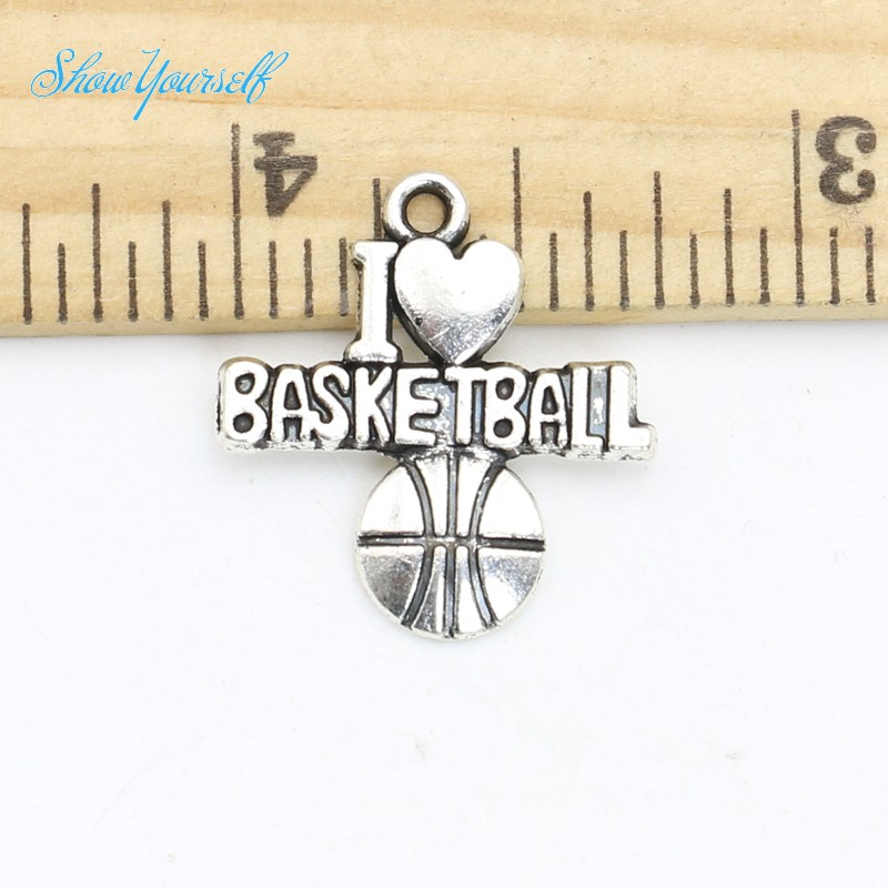 18pcs Tibetan Silver Plated Basketball Charms Pendants for Bracelet Necklace Jewelry Making DIY Handmade Craft 21x19(China (Mainland))