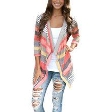 New Fashion Women Stripe Irregular Hem Knit Cardigan Sweaters Coat Surcoat casaco S-XL TQ