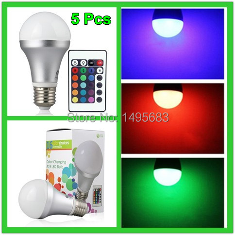 5Pcs New arrival E27 10W/20W AC85-265V RGB led Bulbs Lamp with Remote Control Multiple Colour LED Lighting free shipping(China (Mainland))