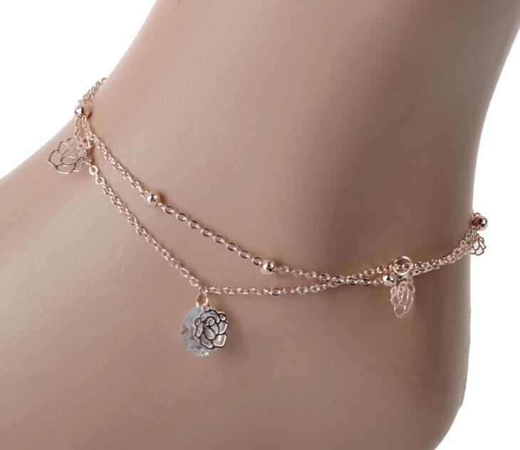 NEW 2015 Sexy Crystal Double Layer Gold Ankle Chain Anklet Bracelet Beach free shipping(China (Mainland))