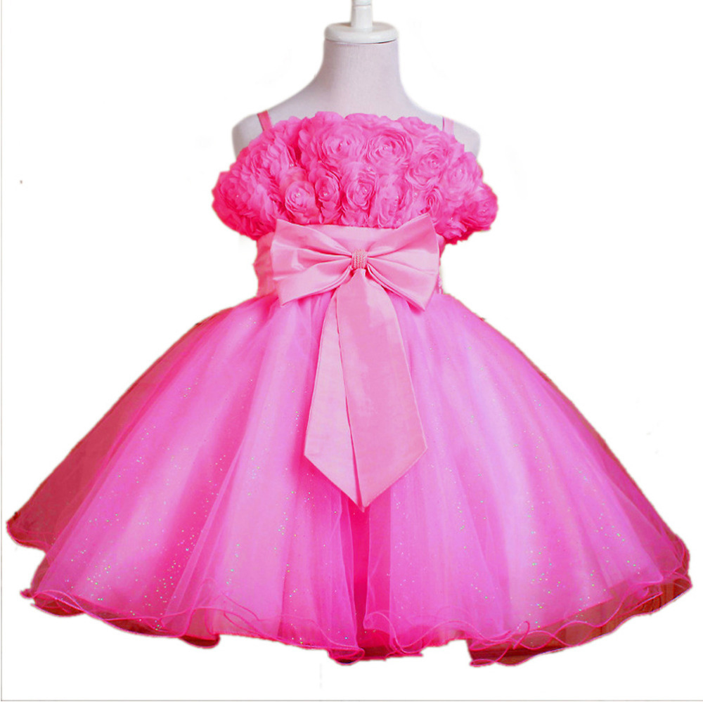 2015 kids brand clothing girls princess dress , beautiful flower dress girl for evening clothes for 3-12 years C8 Hot Pink(China (Mainland))