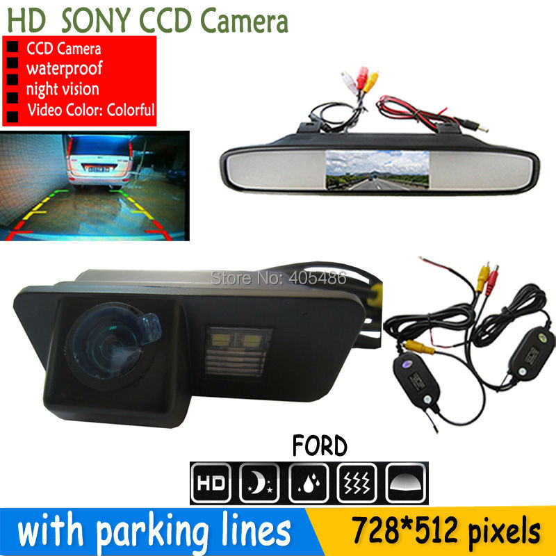 4.3'' car monitor mirror and 2.4G wireless CCD HD Car parking reverse rear view camera for FORD MONDEO FIESTA FOCUS/S-Max KUGA(China (Mainland))