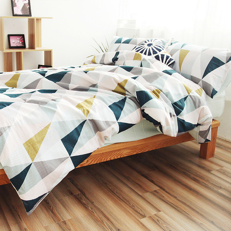 Cotton Nordic Style Bedding Set Quilt Cover Twin Blue