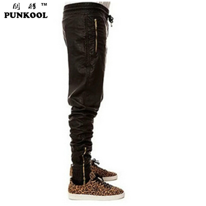 Kanye Style Slim Motorcycle Leather Pants Hiphop Fashion PU Trousers Jogging Biker Men Jogger Collapse Black