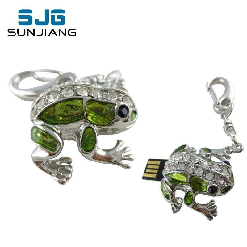 Diamond Cute Frog USB Flash Drive 64GB 32GB 16GB 8GB 4GB Diamond Pen Drive Pendrive Memory Sticj USB 2.0 U Disk Free Shipping(China (Mainland))