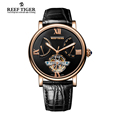 Reef Tiger RT Casual Watches Tourbillon Automatic Watches with Date Day Rose Gold Fashion Designer Watch