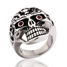 BUDONG Brand Size 9-11 Fashion Many Choice Stainless Steel Skeleton Skull Head Ring for Young Men Punk Party Jewelry BR029-44(China (Mainland))