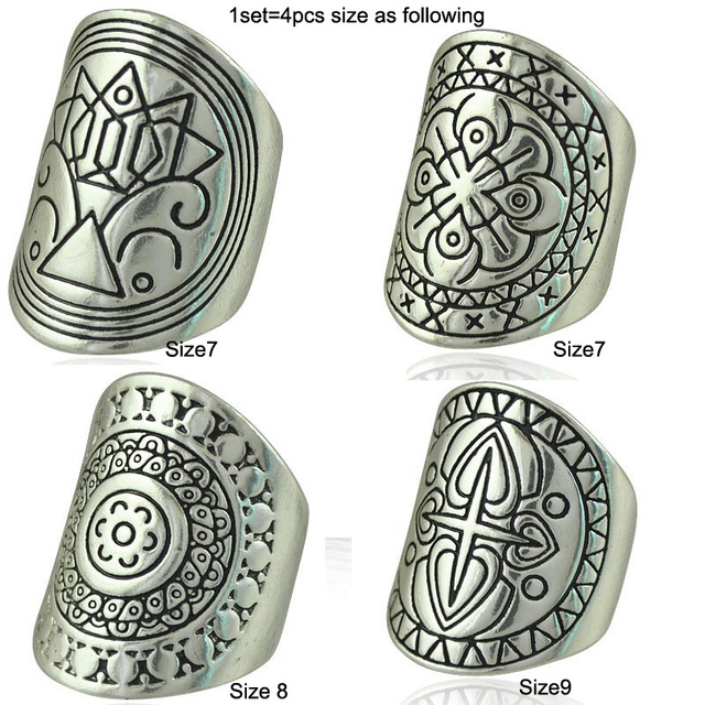 Bohemia Vintage Jewelry Unique Carving Tibetan Silver Plated Ring Set for Woman