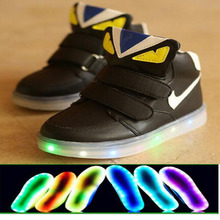 2016 spring/summer fashion LED light baby sneakers solid color fashion hot boys girls cute causal kids shoes children shoes(China (Mainland))
