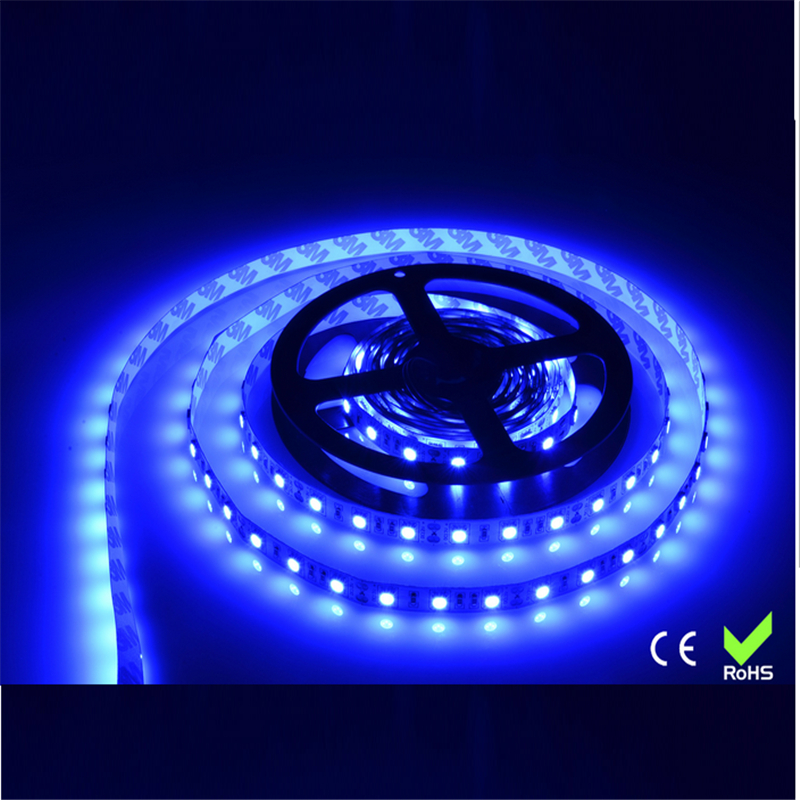 LED strips 5m/roll Free shipping SMD 5050 strips LED neon light 12V DC Blue color led tape High Brightness IP20 indoor use(China (Mainland))