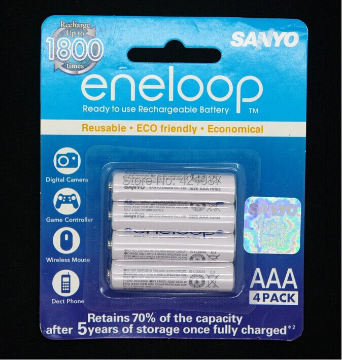 Free shipping SANYO AAA 750mAh Pre-charged Rechargeable Battery 2 Pack(8 Batteries )(China (Mainland))